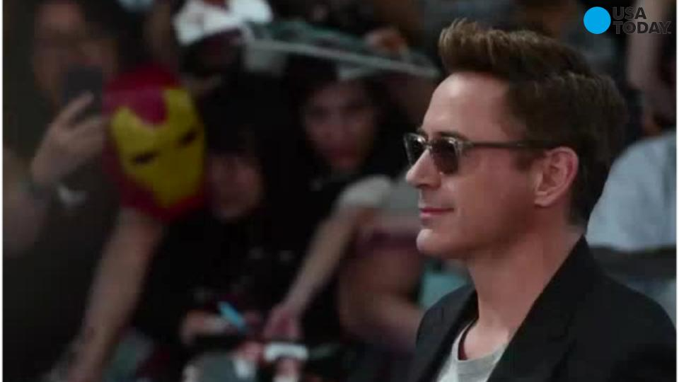 """Robert Downey Jr. in Times Square on April 24, 2015, for """"Avengers: Age of Ultron."""""""