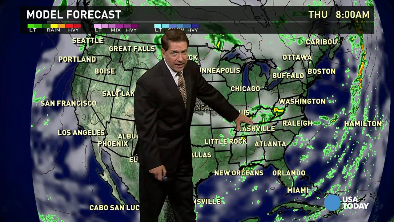 Wednesday's forecast: Warm front pushing North