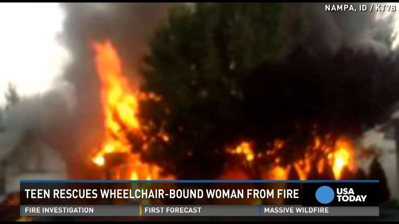 Teen runs into burning home to save wheelchair-bound woman