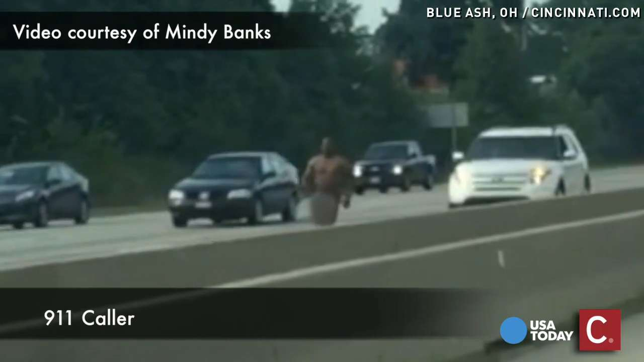 Naked man caught on video fleeing police after crash