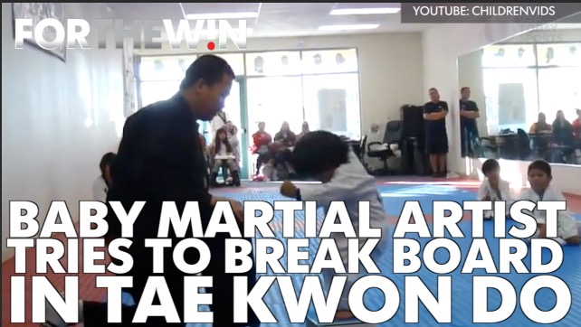Tae Kwon Do baby won't give up, breaks a board