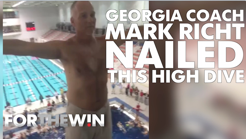 Georgia coach Mark Richt NAILED this high dive