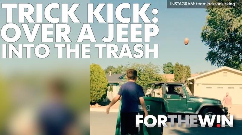 Trick kick: Over a Jeep, into the trash