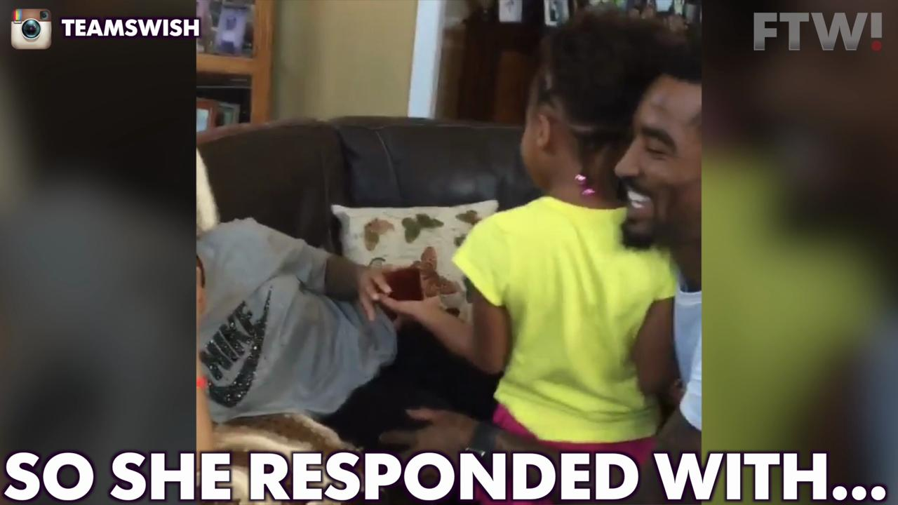 J.R. Smith's daughter helps him propose