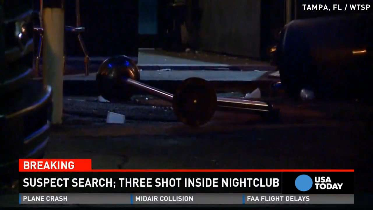 3 shot on dance floor of Tampa, Florida nightclub