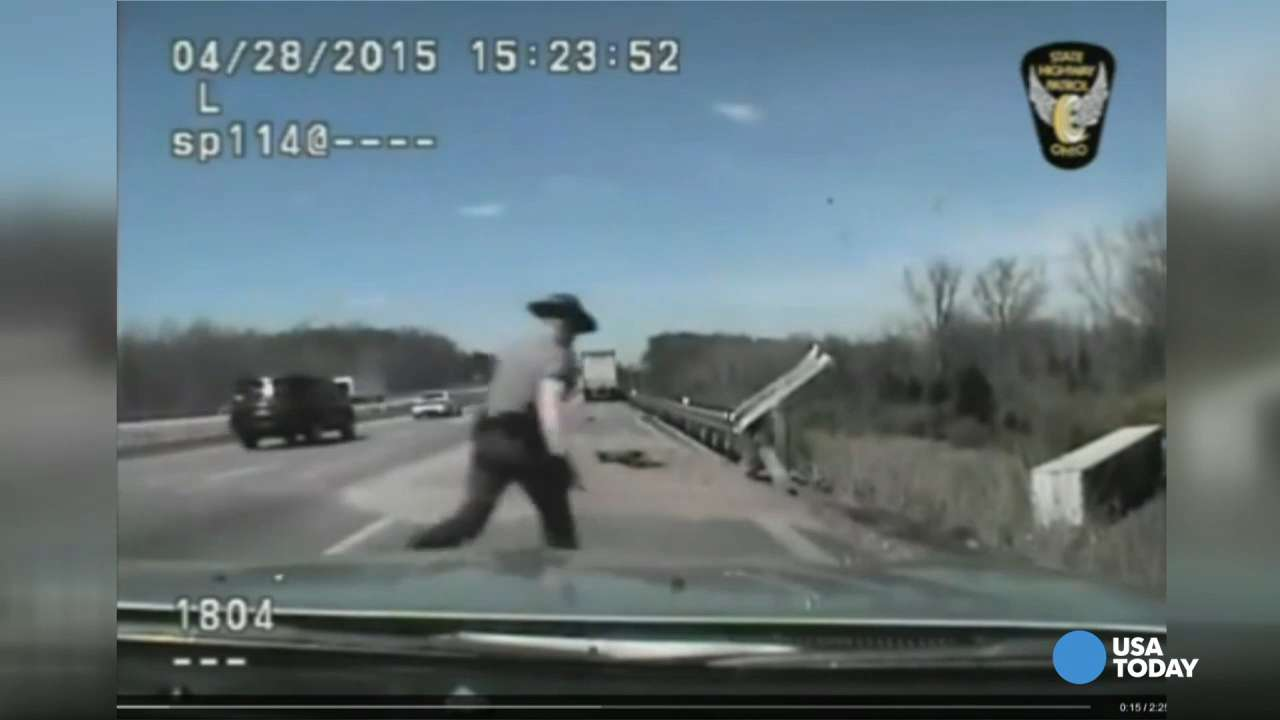 Trooper saves trucker's life in dramatic dashcam video
