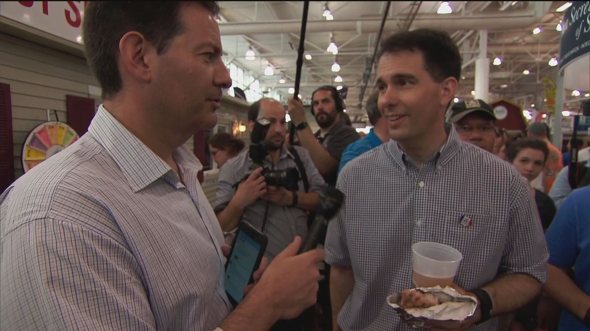 Walker Faces Down Hecklers, Talks Immigration at the Fair
