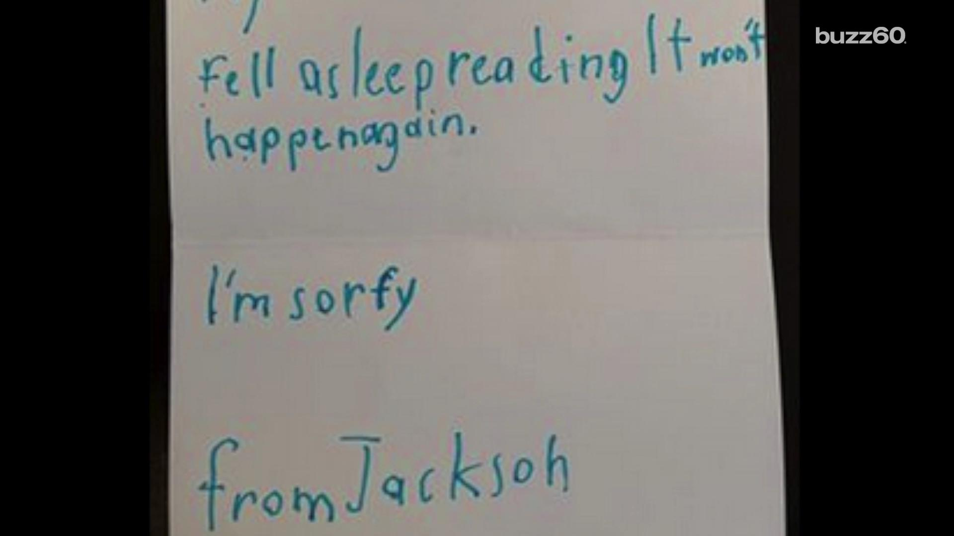 Boy writes adorable note to library apologizing for damaging book