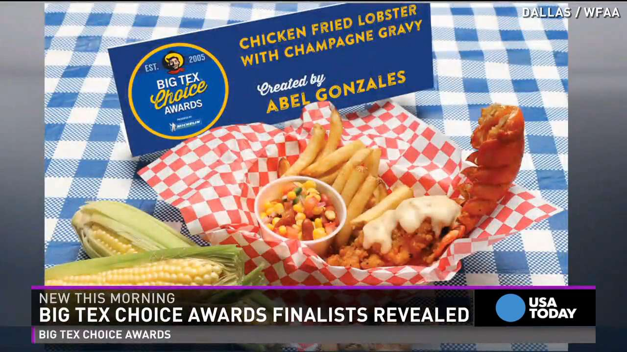 For the first time in Big Tex Choice Awards history, lobster has made its way on the menu. Adding a flair of fair to a traditionally sophisticated dish, this seafood spread includes an entire lobster tail, breaded and deep fried to perfection. Served with a rich sauce combining lemon butter and champagne gravy, the Chicken Fried Lobster is not your typical carnival concoction.