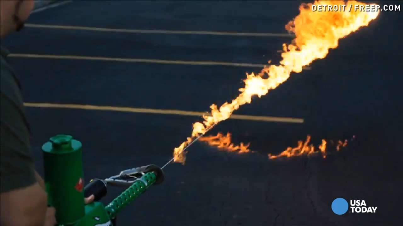 See first commercial handheld flamethrower in action