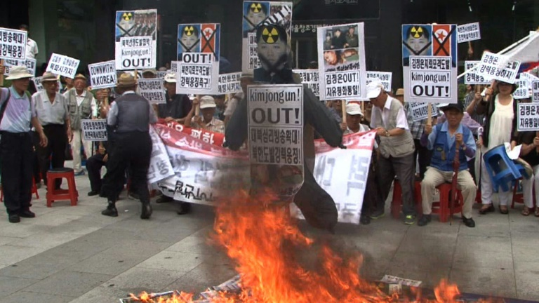 South Korean activists protest against North