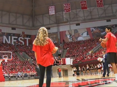 Raw: Half-Court Shot Wins Free Tuition