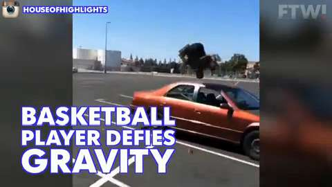 Basketball player defies gravity