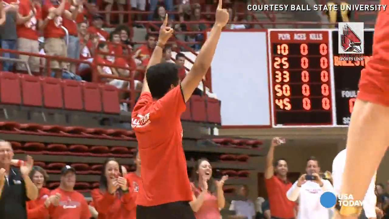 Lem Turner is just starting classes at Ball State University, but the freshman is already making a splash on campus. He won free tuition for a semester by sinking a half-court shot during welcome week activities.
