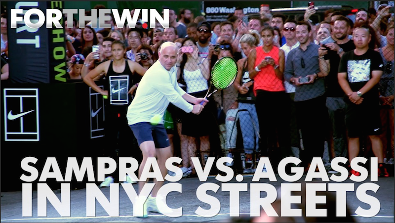 Pete Sampras, Andre Agassi play tennis in NYC streets