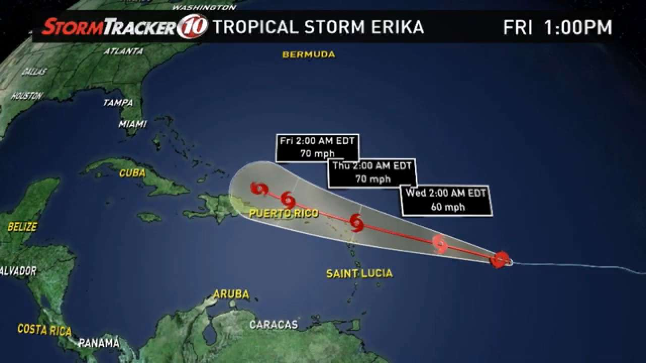 Tropical Storm Erika forms, could be hurricane by weekend