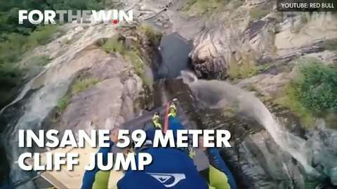 Insane 59 meter cliff jump