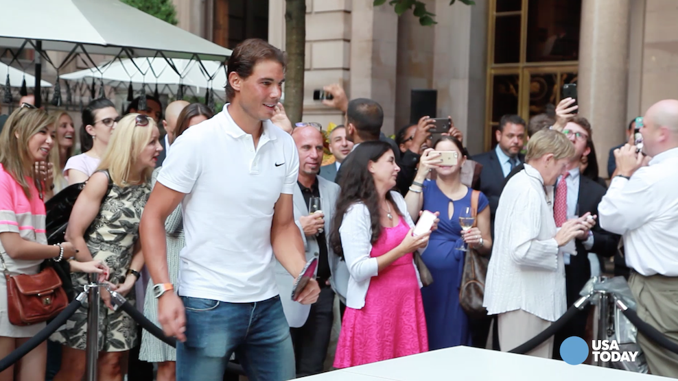 With the U.S. Open just days away, tennis star Rafael Nadal arrived at the New York Palace Hotel to play table tennis in their open courtyard.  The hotel's courtyard will be open to the public with live video screens throughout the tournament.