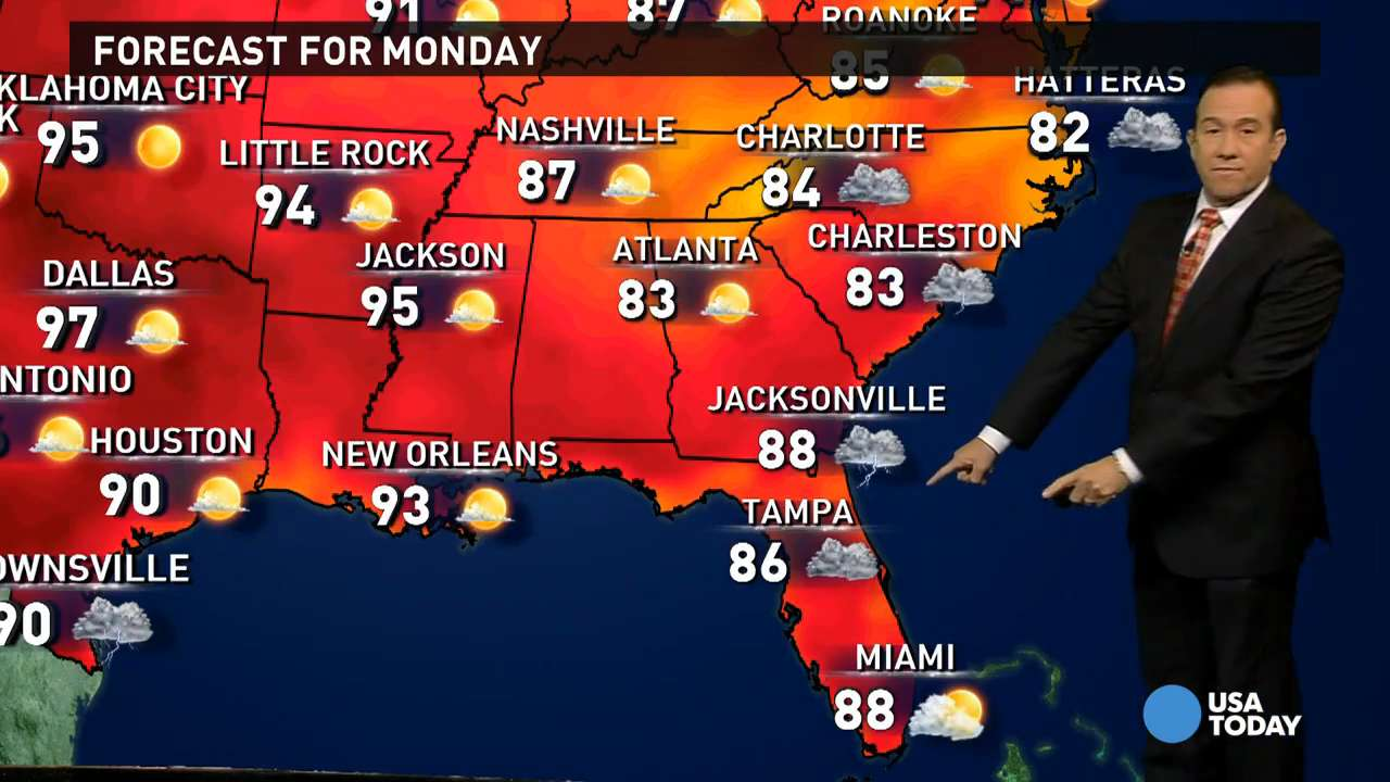Monday's forecast: Moisture from Erika hits Southeast