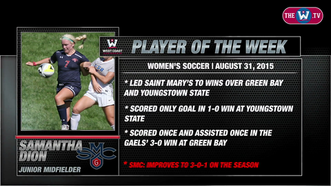 Video | Women's Soccer Player of the Week | August 31, 2015