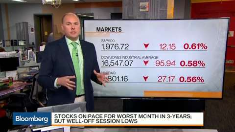 Stocks headed for worst month in three years