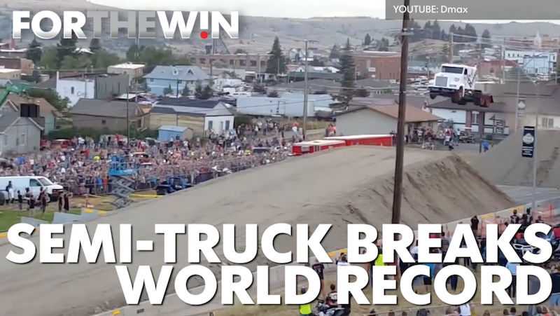 Semi-truck sets world record for longest jump