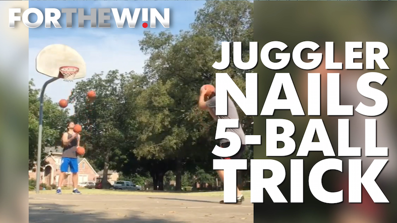 Juggler nails this 5-ball trick
