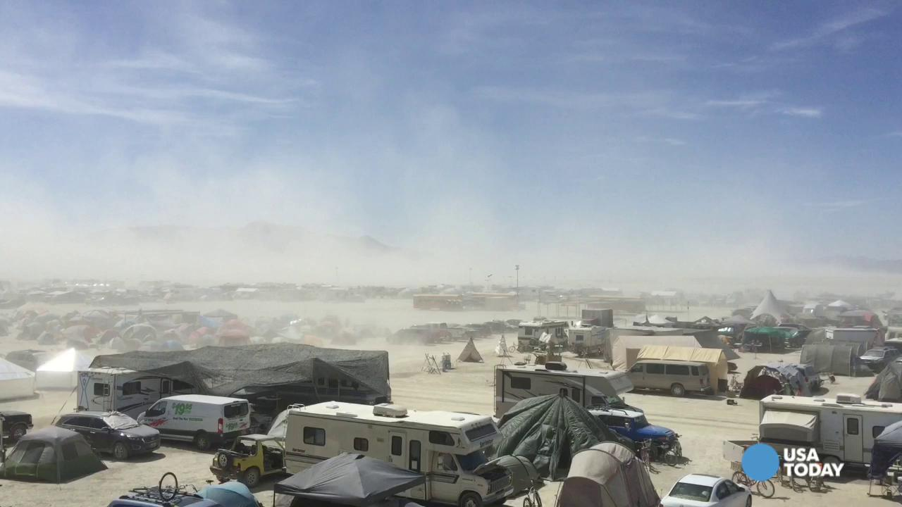 Burning Man: Burners in the desert encounter whiteout conditions