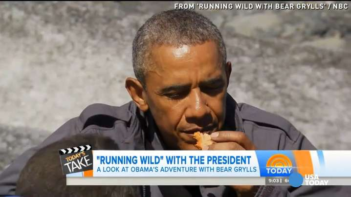 Obama feasts on bear's leftovers on 'Running Wild'