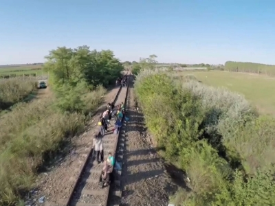 Drone Footage Shows Migrants Near Hungary Border