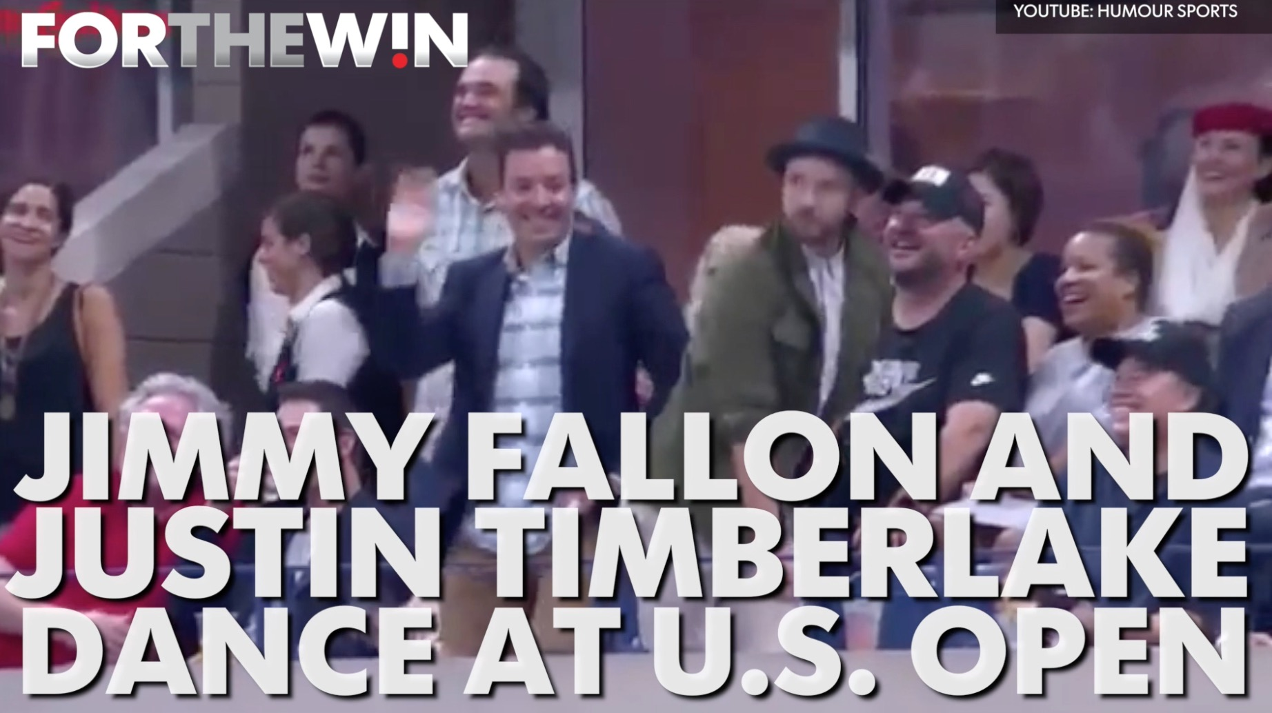 Jimmy Fallon and Justin Timberlake dance at the U.S. Open