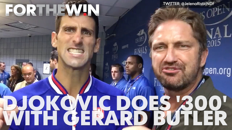 Djokovic yelled 'This is Sparta!' with Gerard Butler