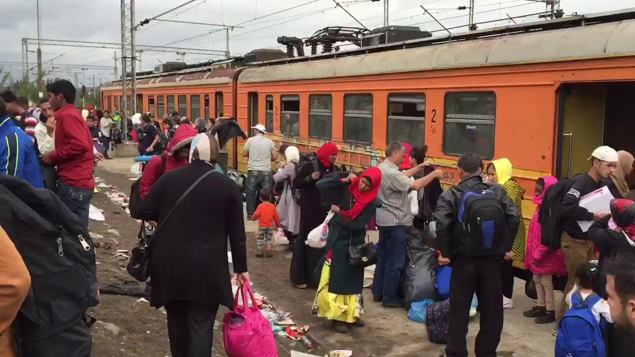 Migrants train to Serbia