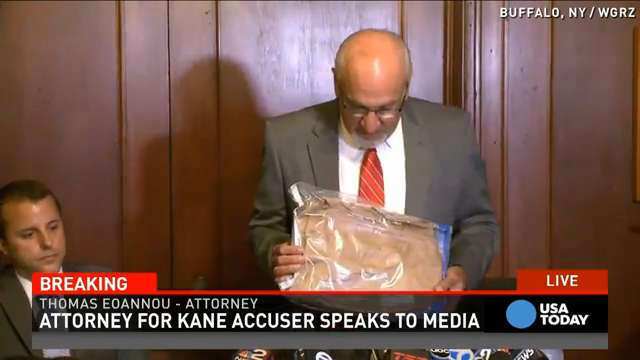 The lawyer for a woman accusing Chicago Blackhawks star Patrick Kane of rape says her rape kit evidence bag was left anonymously on her mother's doorstep.