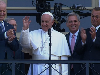 Pope Visits Father Serra Statue, Speaks to Crowd