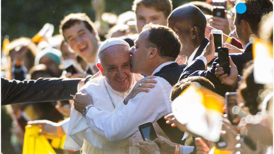 Pope Francis hugs and kisses Americans