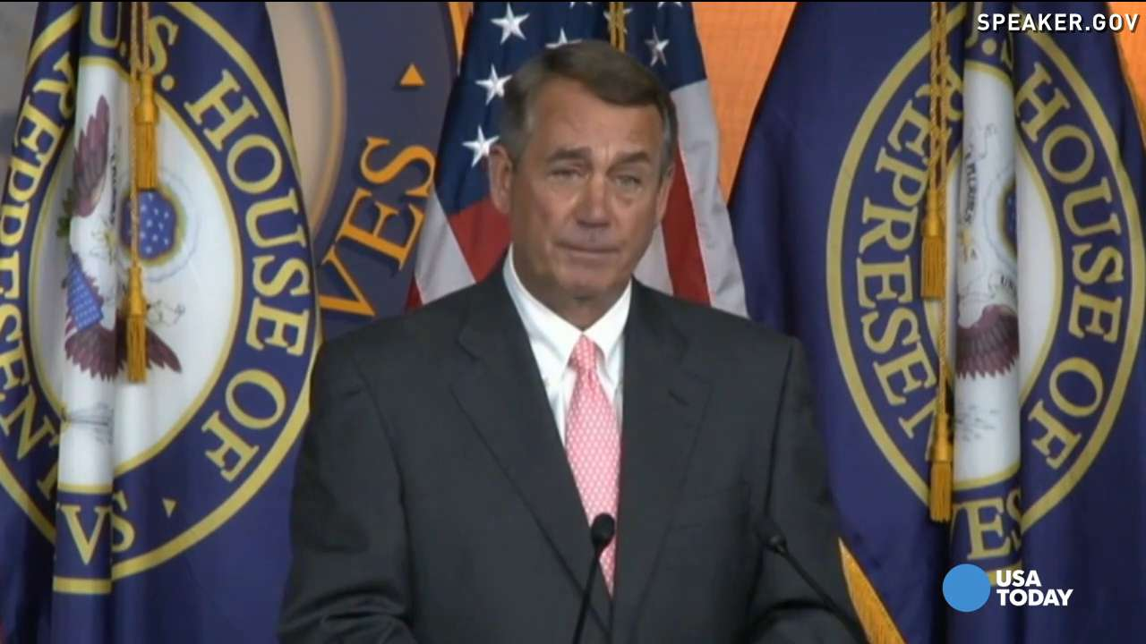 WASHINGTON, DC - JULY 29: House Speaker John Boehner holds his weekly news conference on Capitol Hill on July 29, 2015 in Washington, DC. During the press conference the House Speaker argued the intention by members of the Republican party who demanded his resignation.  (Photo by Astrid Riecken/Getty Images)