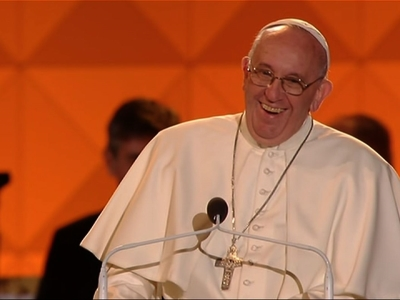Pope gives message of love, laughter to families
