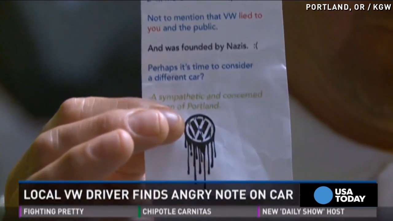 VW drivers get angry notes over emissions scandal