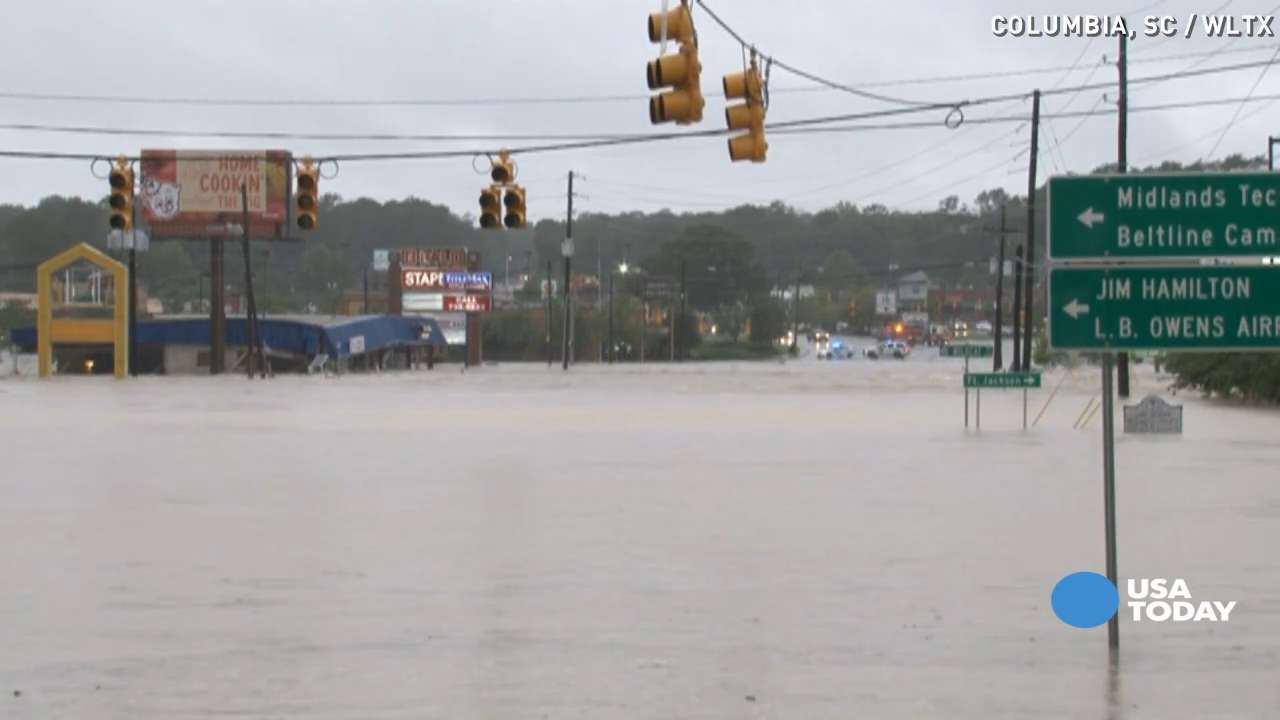 Dangerous floods turn South Carolina roads into rivers