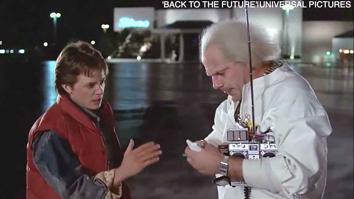 A photo of the character Biff from the Back to the Future movies.