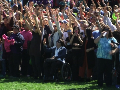 Thousands form human peace sign for John Lennon's birthday