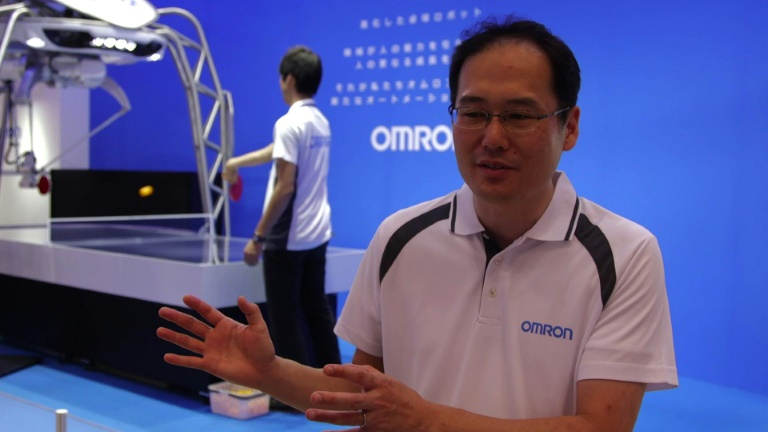 A ping pong robot unveiled at Japan tech fair