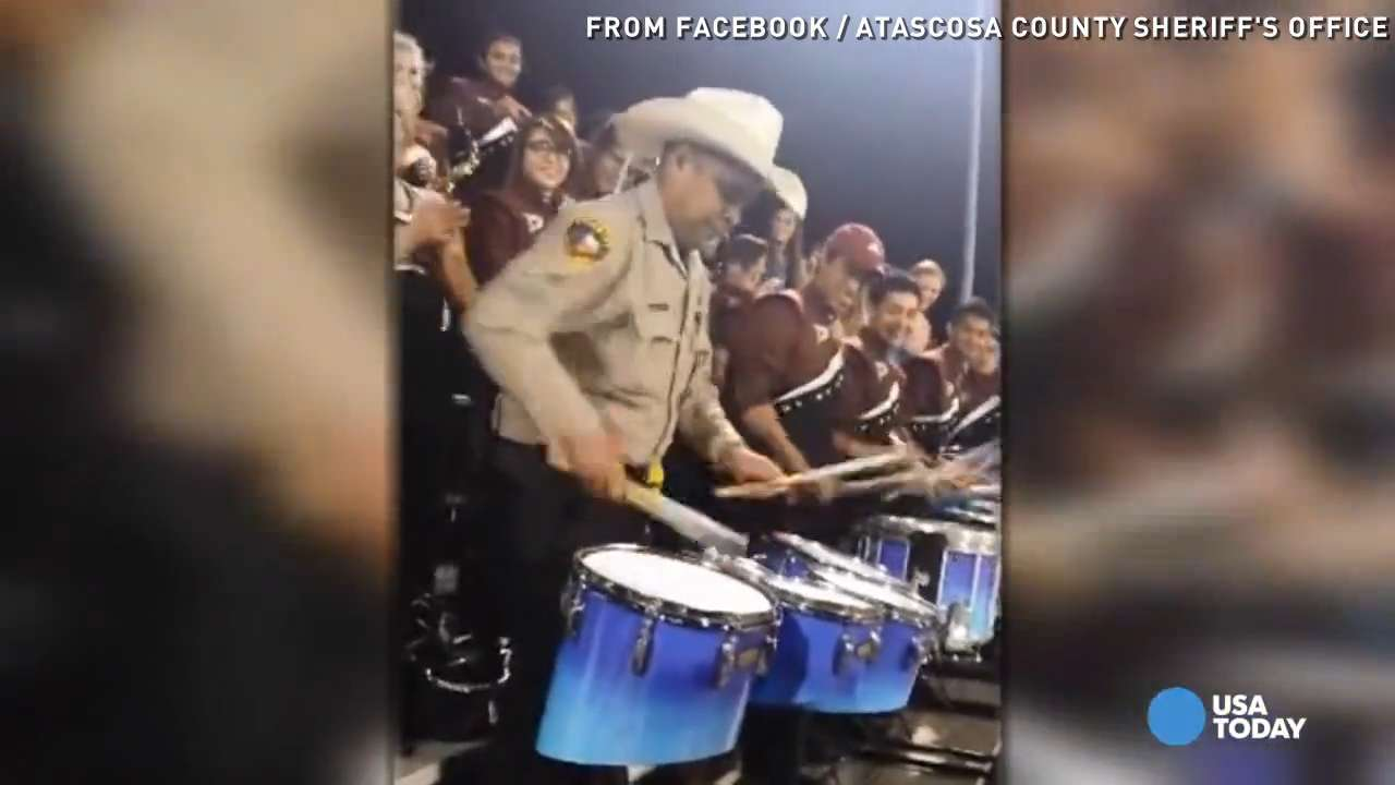 Deputy shows off drumming skills with high school band