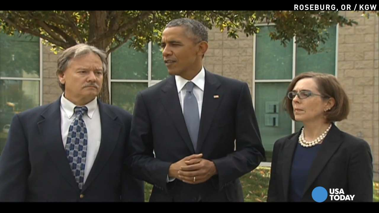 Obama visits families of Oregon shooting victims