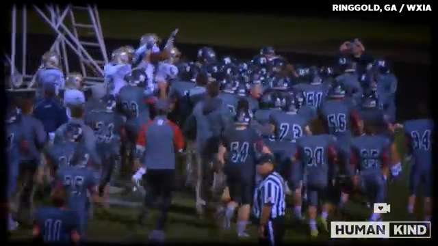 Football team's biggest fan becomes gridiron hero