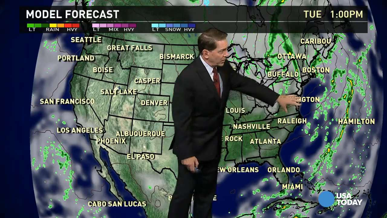 Tuesday's forecast: Weak cold front, rain in the East