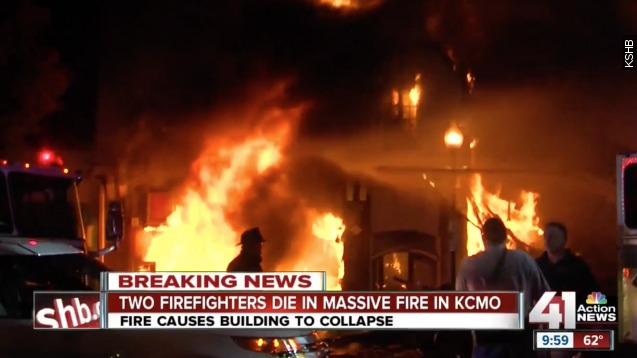 Two Kansas City, Missouri, firefighters are dead and two are injured after a burning burning building collapsed on them Monday evening.