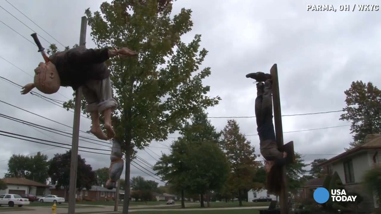 Neighbors creeped out by gruesome Halloween decorations