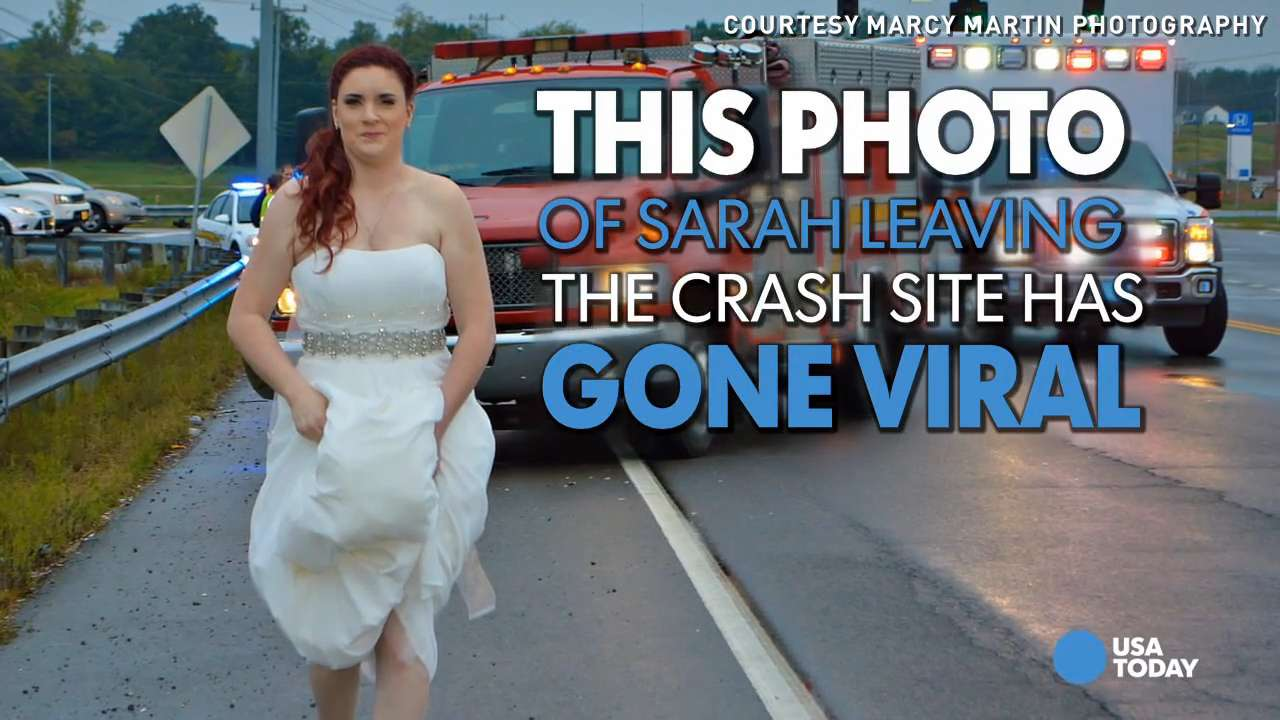 Paramedic bride leaves wedding to help family in crash